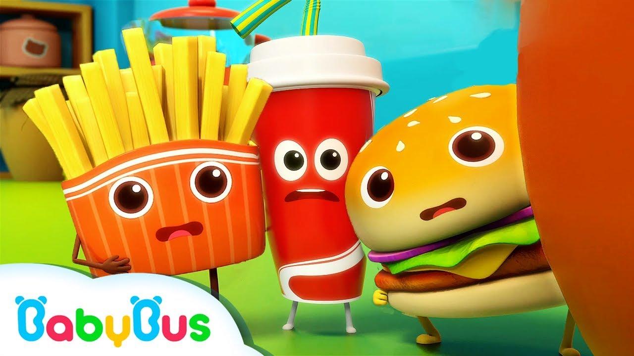 Hamburger and His Friends | Food Song | Nursery Rhymes | Kids Songs | Kids Cartoon | BabyBus