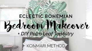 Minimal Bedroom Makeover + DIY Palm Tapestry || KonMari Method