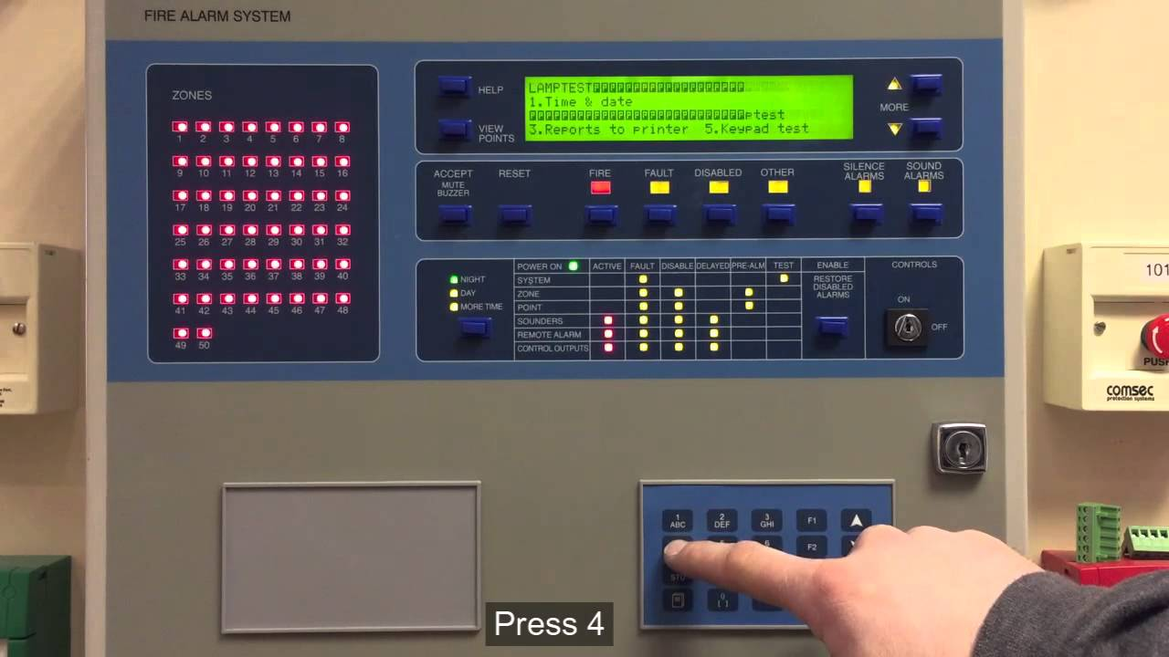 Ziton ZP3 Fire Alarm Control Panel. How to perform a lamp ...