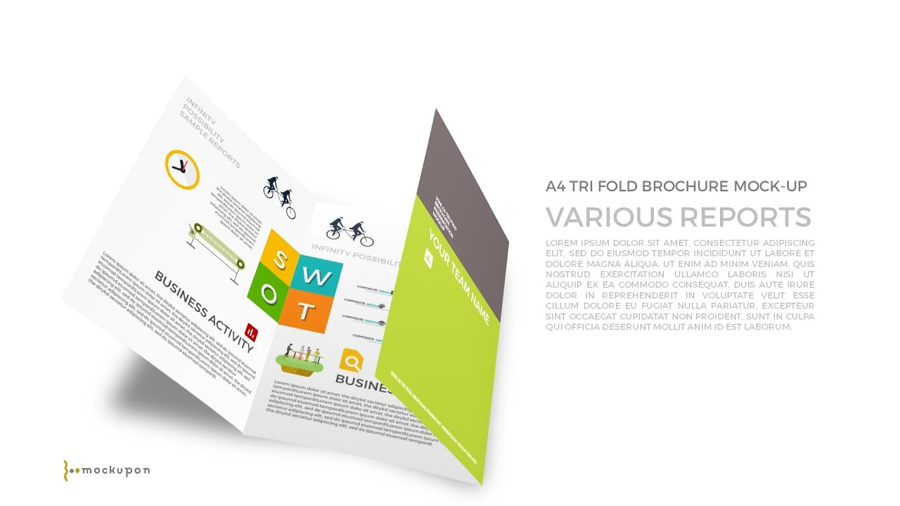 Powerpoint a4 tri fold brochure mockup templates for swot for Brochure templates for powerpoint