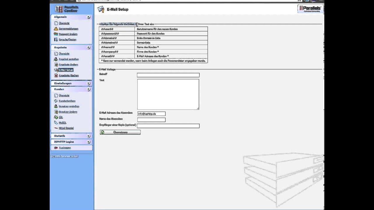 Parallels Confixx Tutorial Angebot Und E Mail Vorlagen Erstellen Und Bearbeiten