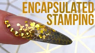 How to Encapsulate Chrome Powder Stamping in an Acrylic Nail with Glitter and Bling