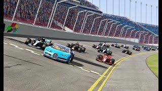 Bugatti Chiron vs All F1 2018 Cars  OVAL TRACK