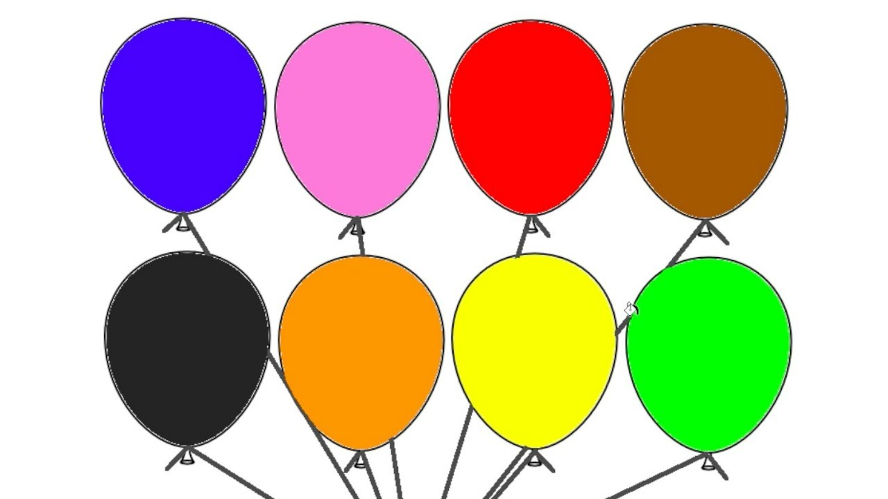 Learn Colours With BALLOONS Colouring Page YouTube