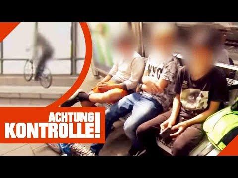 Teenager-Rowdys (15) biken auf dem Bahnsteig! Polizei greift ein!   Achtung Kontrolle   Kabel Eins
