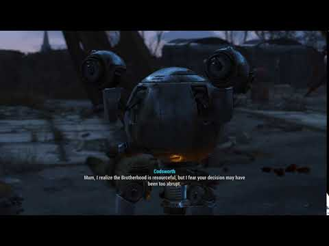 """Codsworth """"Mum, I realize the brotherhood is resourceful, but I fear your..."""""""
