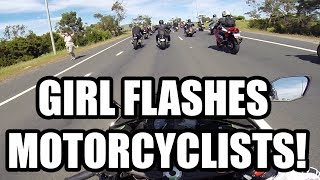 Girl Flashes Motorcyclists! 2013 MotoGp Run!