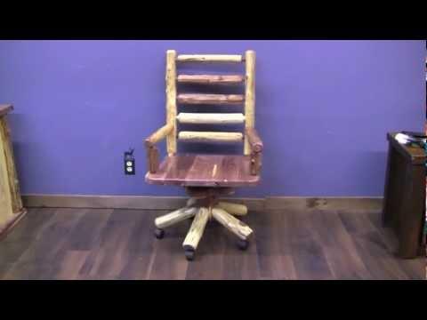 Red Cedar Log Swivel Office Chair From LogFurniturePlace.com