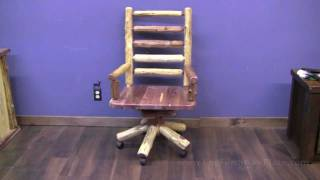 Red Cedar Log Swivel Office Chair From Logfurnitureplace.com
