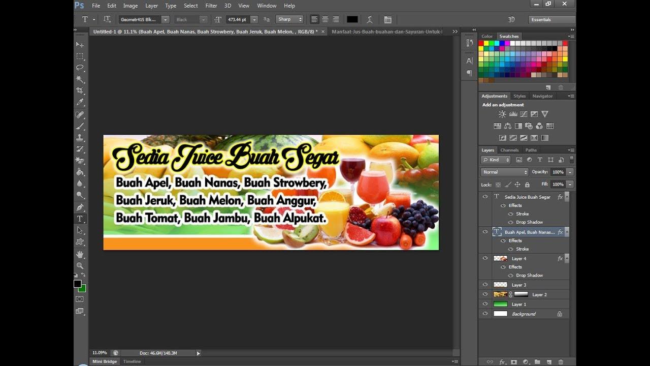 Cara Desain Banner Juice Buah di photoshop - YouTube