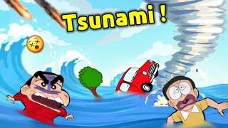 Shinchan and Nobita Surviving in Tsunami 😱 || 😂 Natural Disaster Roblox