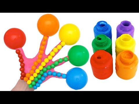 Finger Family Gumball Rainbow Colors Kids Learning Finger Painting Nursery Rhymes!