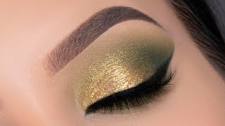 Golden Green Eye Makeup Tutorial for Brown Eyes | $3 palette 😱