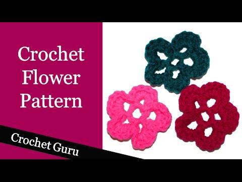 Crochet Flower - Easy Pattern for Beginners - YouTube