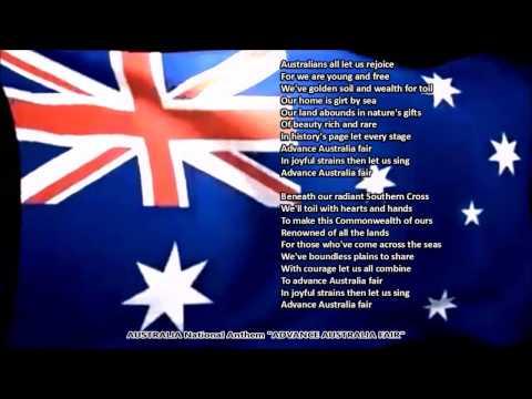 Australia National Anthem ADVANCE AUSTRALIA FAIR with music, vocal and lyrics
