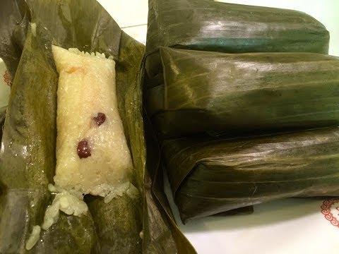 Ncuav nplooj tsawb qab zib coconut, banana. How to make sweet sticky rice in banana leaves.1/30/2018 thumbnail