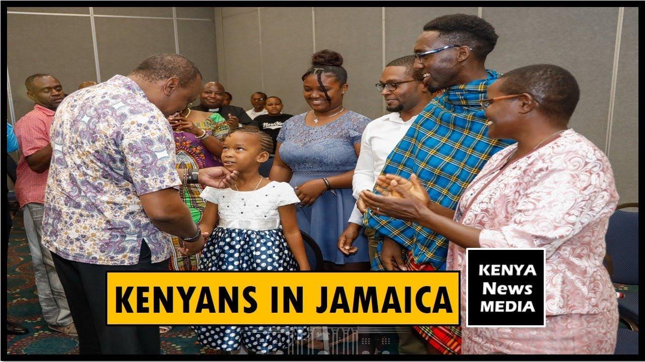 PRESIDENT UHURU KENYATTA MEETING WITH KENYANS IN JAMAICA