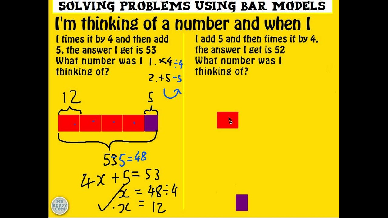 Solving Two Step Equations Using Bar Models Practice
