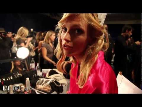 Anja Rubik Backstage at the Victoria's Secret Fashion Show