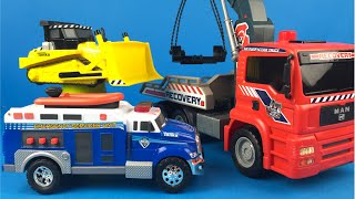 Tonka Toughest Minis Mighty Machines - Bulldozer Platform Truck Ambulance Truck toys for kids