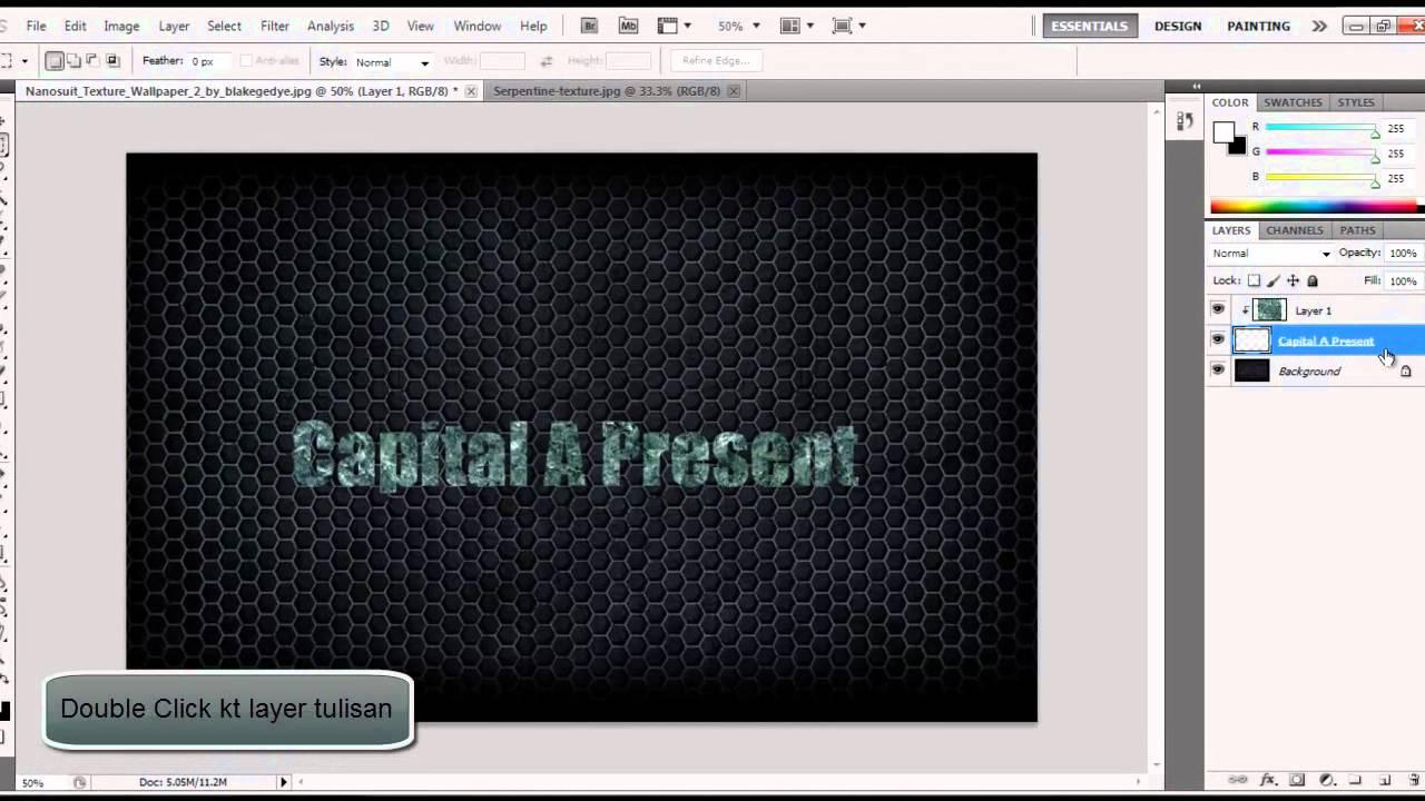 Photoshop CS5 : Letak texture kt text (Malay Version) HD - YouTube