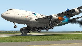 Boeing 747 Bird Strike Emergency Landing (HD) | X-Plane 11