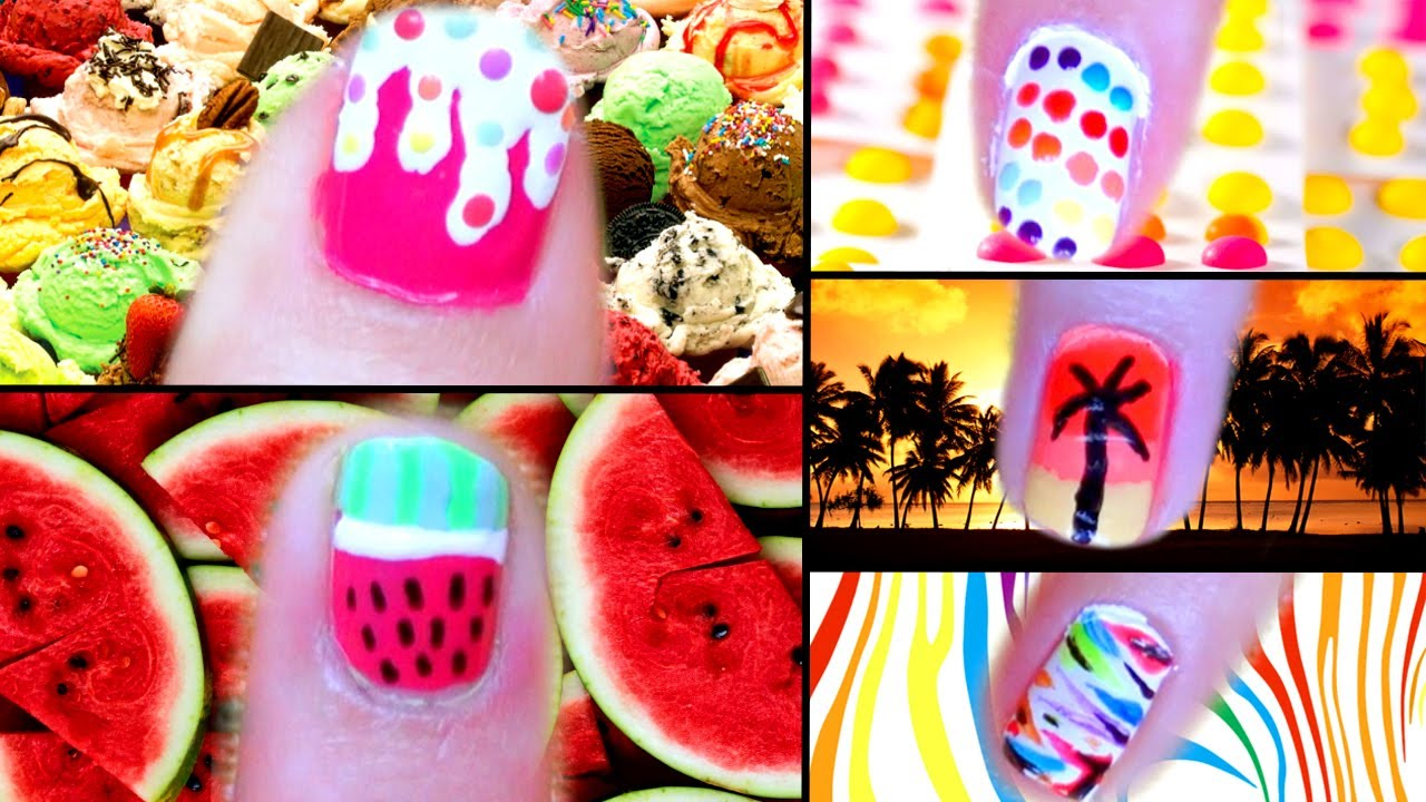 5 Cute & Easy Summer Nail Designs! - YouTube