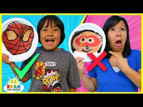 Pancake Art Challenge Ryan's Favorite Things!!! Learn How to Make DIY Superhero Spiderman Art!