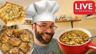 Beer Chicken Fricassee, Butter Bean Stew, & Pear Galette! | September 28th Cooking Live Stream
