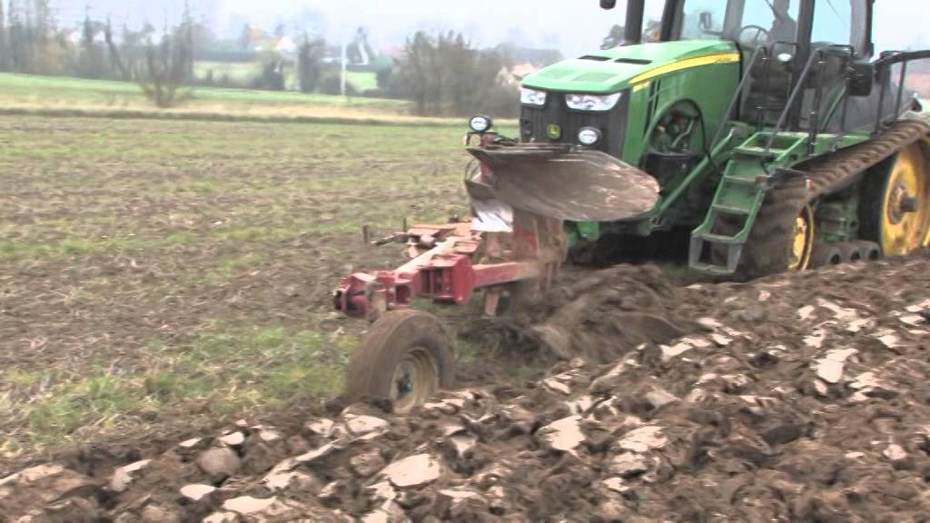 Tractor Front Track : Front rear ploughing on a john deere track tractor with