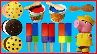 佩佩豬粉紅豬小妹和可愛木質冰淇淋甜點冰棒玩具