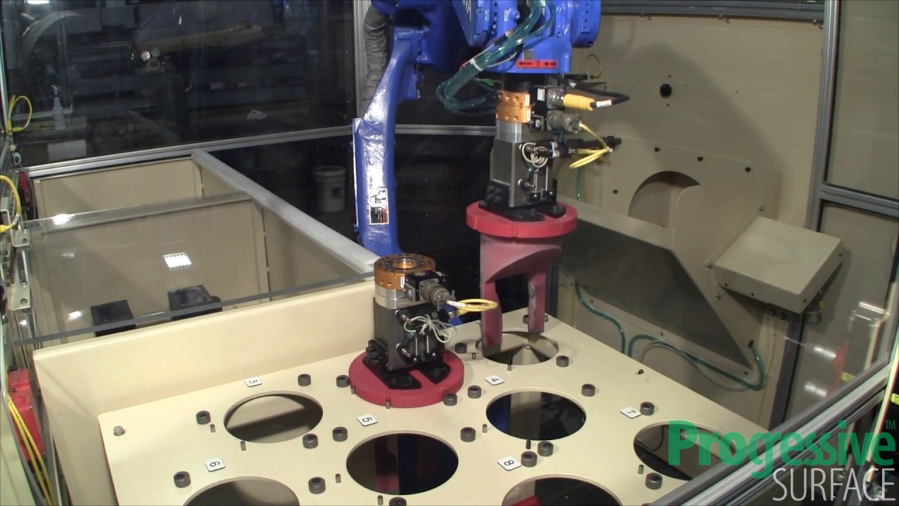 Automatic Robotic Aircraft Engine Nozzle Segment and Blade Grit Blast
