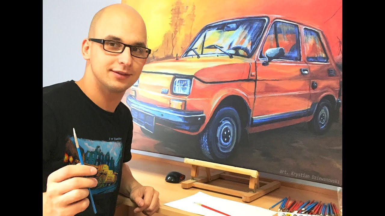 Maluje obraz Fiat 126p Maluch
