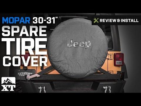 """Jeep Wrangler Mopar 30-31"""" Spare Tire Cover w/ Jeep Logo (2007-2017 JK) Review & Install"""