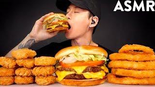 Asmr Chicken Nuggets Onion Rings Double Cheeseburger Mukbang No Talking Eating Sounds