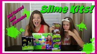DIY SLIME KITS: KID TESTED AND REVIEWED INCLUDING NO GLUE SLIME KITS || Taylor and Vanessa