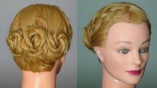 Прическа на средние волосы с плетением. Braided hairstyle tutorial