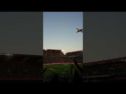 Airplane Flying Over Stadium!!! (55000 Spectators @ Emirates Airline Park, South Africa)