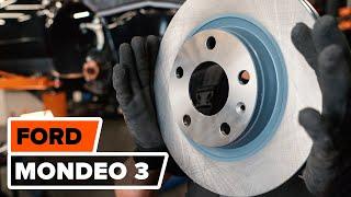 Kuinka vaihtaa etu jarrulevyt, etu jarrupalat FORD MONDEO 3 -merkkiseen autoon OHJEVIDEO | AUTODOC