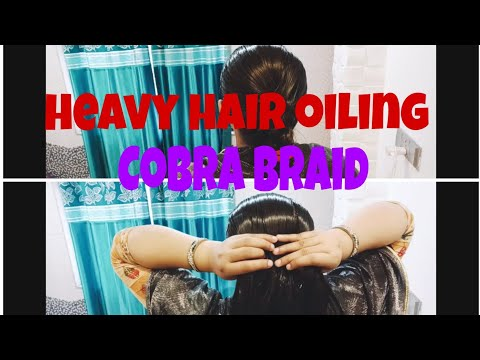 SLEEK HIGH TIGHT FOLDED COBRA BRAID...IN HEAVY OILED HAIR..HAIR TUTORIAL❤