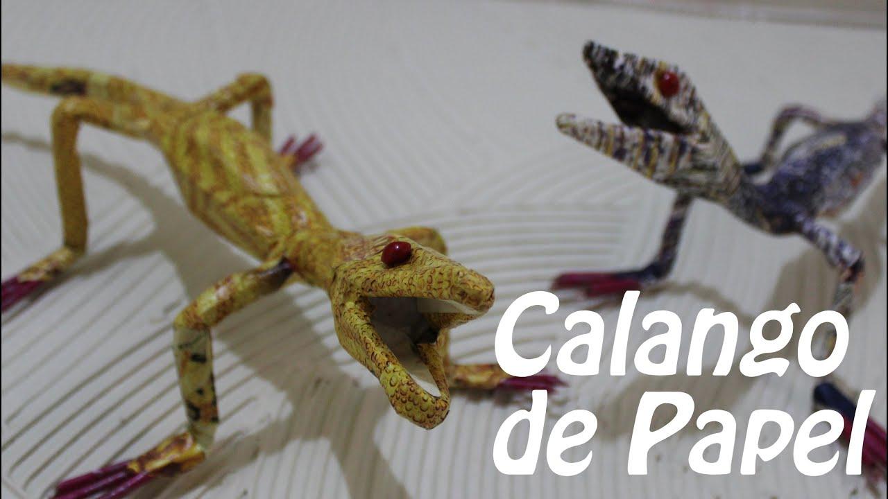 Artesanato Garrafa Pet Como Fazer ~ Calango ou Lagartixa de Papel Artesanato Feito a Mao