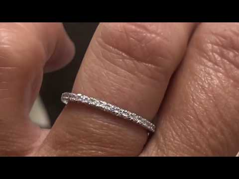 Skinny 2 Mm Platinum Eternity Wedding Band With Micro Pave Setting /6934 Platinum Version