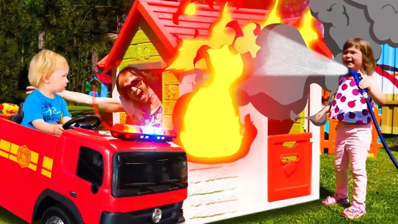 Пожарная машина - Песенки для детей Капуки Дети. Бьянка и Карл играют в машинки. Детские клипы