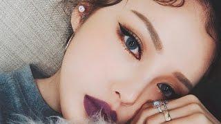 Instagram Makeup - Purple Lip Makeup (With subs) 인스타 메이크업 - 퍼플 립 메이크업
