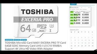 Toshiba Exceria Pro 64GB Micro SDXC  U3 UHS-I ( Real- Speed TEST)