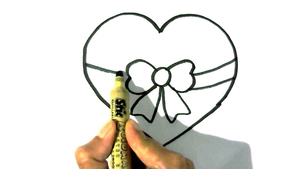 How To Draw Heart With Bow In Easy Steps For Children Kids
