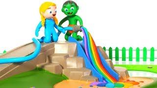 SUPERHERO BABIES PLAY WITH RAINBOW COLOR WATER ❤ SUPERHERO BABIES PLAY DOH CARTOONS FOR KIDS