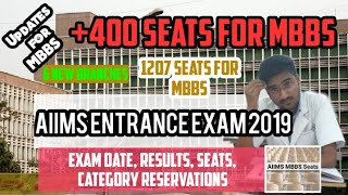 AIIMS ENTRANCE EXAM 2019 UPDATES | MBBS SEATS | NEW AIIMS BRANCHES | 400 SEATS |CATEGORY RESERVATION