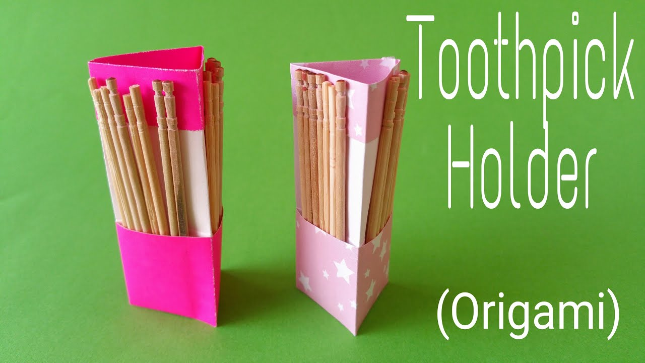"How to make / fold an easy Paper ""Toothpick Holder ... - photo#24"