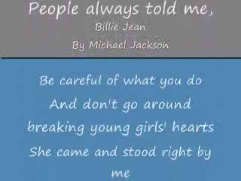 MICHAEL JACKSON LYRICS for Billy Jean (onscreen text)